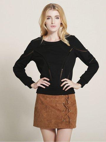 Lztlylzt Women Casual Hollow Pullover O-neck Long Sleeve Sweatshirt-Newchic-