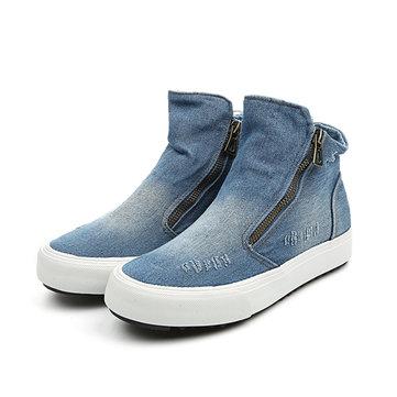 M.GENERAL Denim High Top Zipper Casual Shoes-Newchic-Multicolor