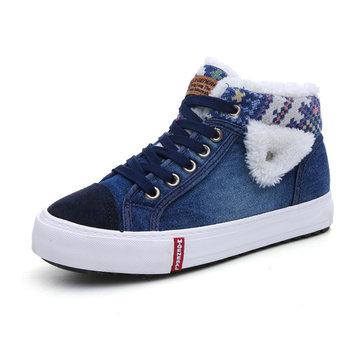 M.GENERAL Denim Lapel Boots-Newchic-Blue