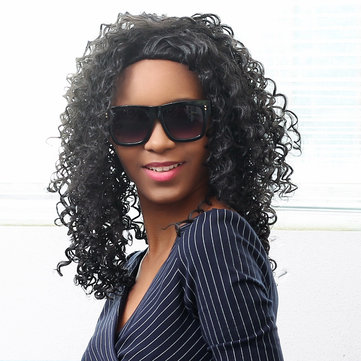 Medium Length Synthetic African Wavy Hair Black Curly Wig High-Temperature Women-Newchic-