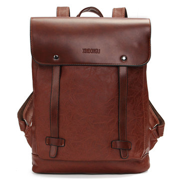 Men Women Vintage Backpack PU Leather Laptop bags School Bag Shoulder Bags-Newchic-