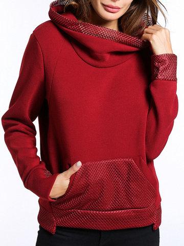 Mesh Patchwork Turtleneck Women Sweatshirts-Newchic-