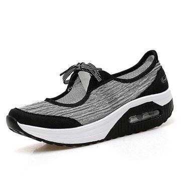 Mesh Rocker Sole Platform Lace Up Sport Casual Shoes-Newchic-Multicolor
