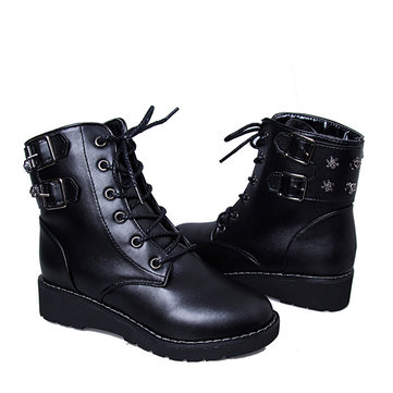 Mid Heel Wild Round Toe Boots Lace Up Ankle Boots For Women-Newchic-Black