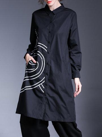 Miting Brief Printed Women Long Shirts-Newchic-