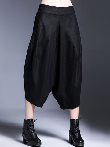 Miting Casual Asymmetrical Women Wide Leg Pants-Newchic-