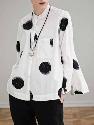 Miting Loose Dot Printed Turn-Down Collar Long Sleeve Women Blouses-Newchic-
