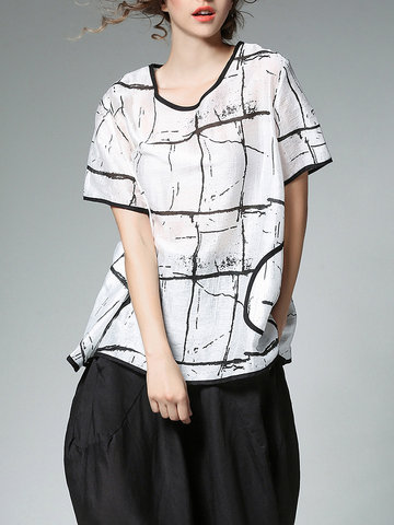 Miting Women Casual Loose Printed Patchwork O-Neck T-Shirts-Newchic-