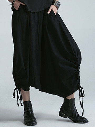 Modern Solid Color Elastic Waist Harem Pants-Newchic-