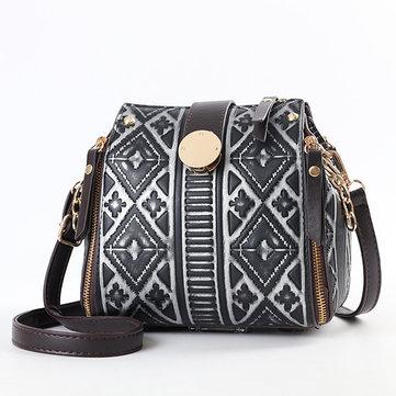 National Rtro Geometric Pattern Messenge Bag-Newchic-