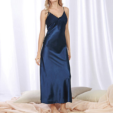 Night Dress Silky Maxiskit Sexy High Side Slit-Newchic-