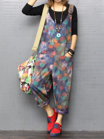 O-NEWE Casual Printed Strap Pockets Jumpsuits-Newchic-