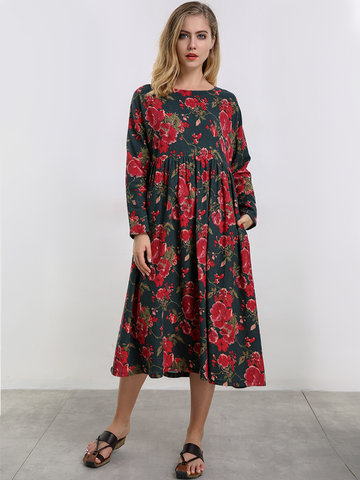 O-NEWE Vintage Flower Printed Long Maxi Dress-Newchic-