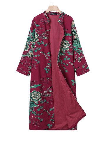 O-NEWE Vintage Printed Long Coat-Newchic-