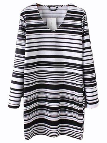 OL Cross Stripe Loose Long Sleeve Women Casual Fashion Mini Dress-Newchic-