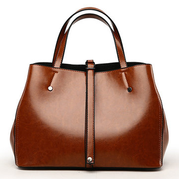 Oil Wax Leather Tote Bag-Newchic-