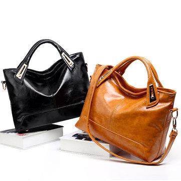 Oil Wax Leather Women Elegant Handbag Tote Bag Square Shoulder Bag Genuine Leather Crossbody Bag-Newchic-
