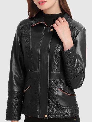 PU Leather Patchwork Thicken Jackets-Newchic-