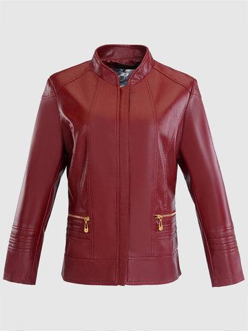 PU Leather Thicken Women Jackets-Newchic-