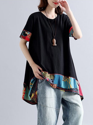 Patchwork Irregular Hem T-shirts-Newchic-