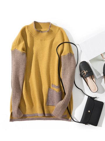 Patchwork Irregular Women Sweaters-Newchic-