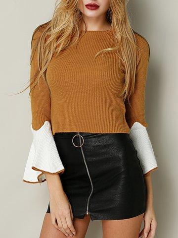 Patchwork Long Horn Sleeve O-neck Women Sweater-Newchic-
