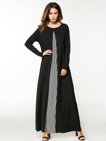Patchwork Long Maxi Dresses-Newchic-