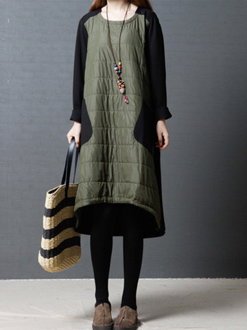 Patchwork Padded Irregular Women Dresses-Newchic-