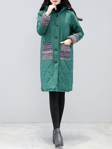 Patchwork Pocket Hooded Cotton Coats-Newchic-