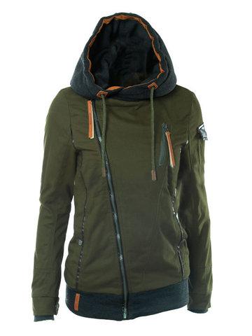 Patchwork Zipper Hooded Women Coats-Newchic-