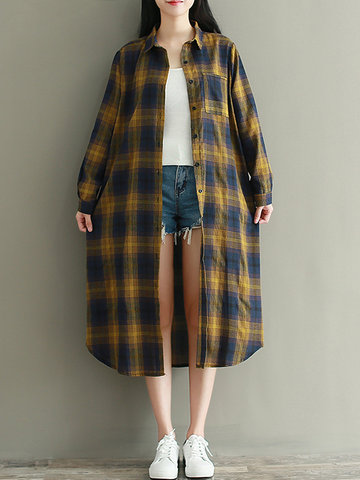 Plaid Buttons Mid-Long Loose Blouses-Newchic-