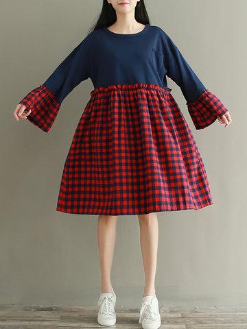Plaid Print Patchwork Women Dresses-Newchic-