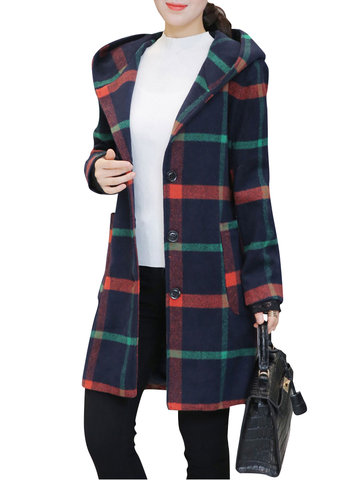 Plaid Single Breasted Hooded Coats-Newchic-