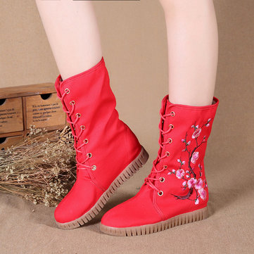 Plum Blossom Embroidered Height Increasing Warm Fur Lining Mid Calf Boots-Newchic-Multicolor