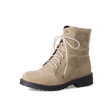 Plus Size British Style Desert Cotton Boots-Newchic-Multicolor