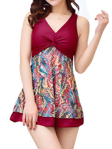 Plus Size Women Printing One Piece Swimwear V Neck Shoulder Straps Dress Swimsuit-Newchic-