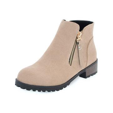 Plus Size Zipper Soft Leisure Boots-Newchic-Multicolor