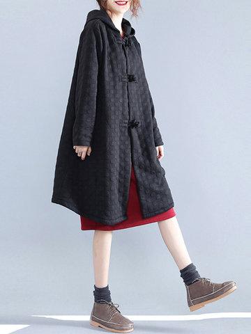 Pocket Hooded Long Sleeves Coats-Newchic-