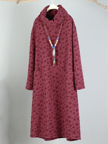 Polka Dots Turtleneck Sweatshirt Dresses-Newchic-