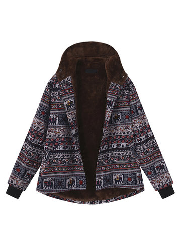 Print Fleece Thick Hooded Coats-Newchic-