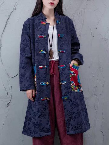 Print Frog Button Women Coats-Newchic-