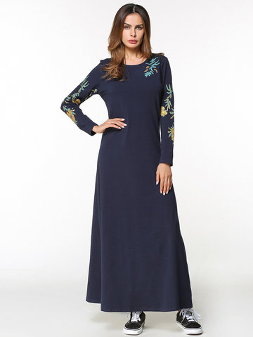 Print Loose Ball Gown Long Sleeve Maxi Dress-Newchic-