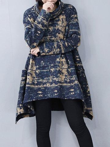 Print Thicken Irregular Turtleneck Dresses-Newchic-