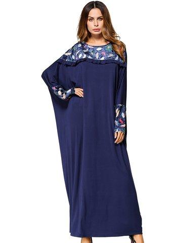 Print Velvet Patchwork Women Dresses-Newchic-