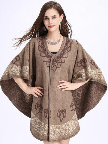 Printed Cloak Imitation Wool Cardigan-Newchic-
