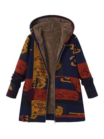 Printed Hooded Coats-Newchic-