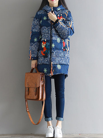 Printed Hooded Cotton Loose Coat-Newchic-