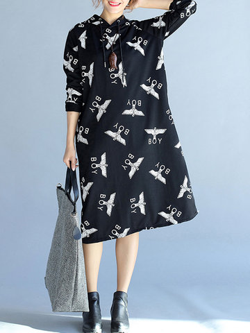 Printed Hooded Women Dresses-Newchic-