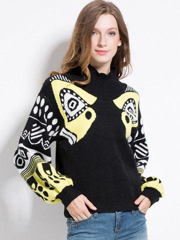 Printed Lantern Sleeves Sweaters-Newchic-