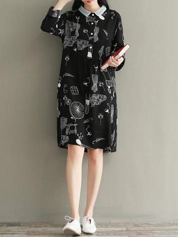 Printed Lapel Dress-Newchic-